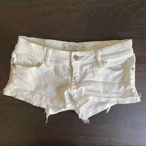 A&F White Low Rise Jean Short Shorts